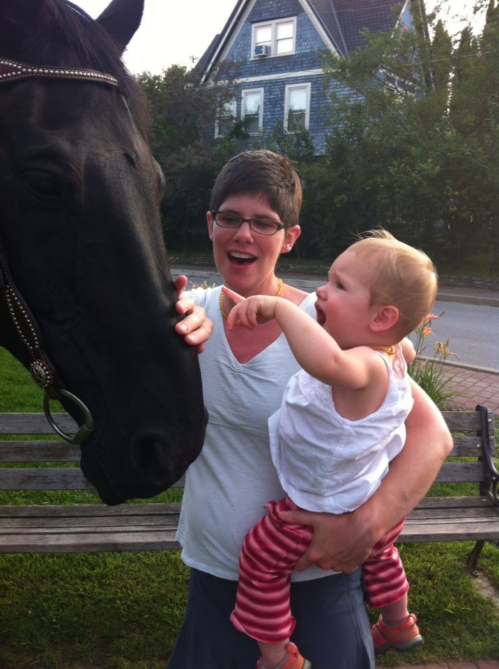 Aida meeting her first horse, Blackjack, in Stowe. (I think we might be in trouble.)
