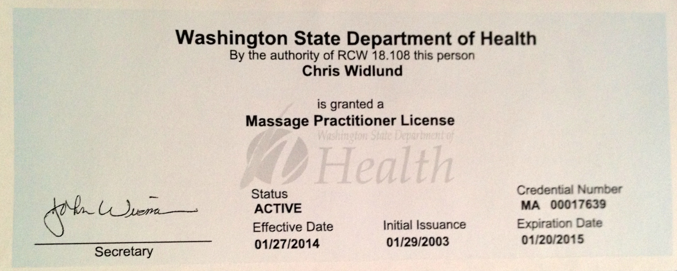 I maintain my Washington massage license because Vermont does not currently have any state regulations for massage therapy.